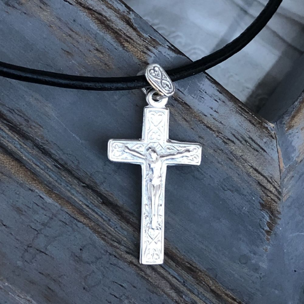 Boy's Holy Communion gift silver crucifix